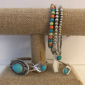 Turquoise and Silver Stretch & Cuff Bracelet Set